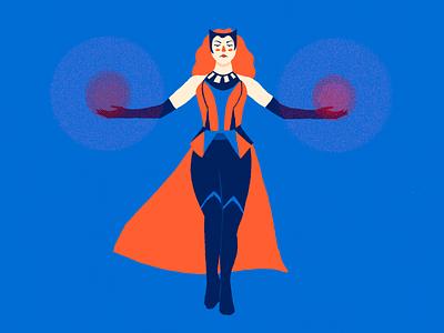 Scarlet Witch wandavision fanart scarlet witch marvel wanda maximoff minimal portrait character design illustration flat design