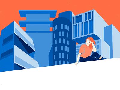 City vibes minimal portrait abstract architecture urban character design illustration flat design