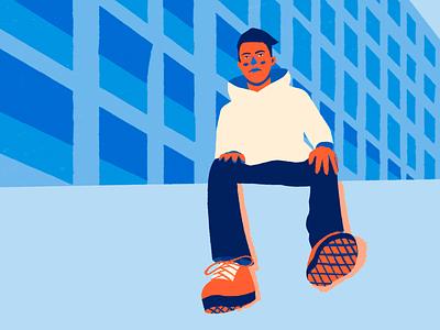 Boy abstract minimal portrait character design illustration flat design