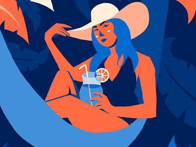 Vacation vacations summer tropic portrait character design illustration flat design