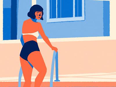Summer day on rear window abstract minimal portrait character design illustration flat design