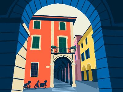Bologna, Italy vacation holidays abstract minimal achitecture bologna italy illustration flat design