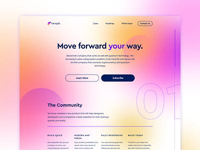 Farsight community crypto platform landing page branding design app pastel soft bright figma gradient hero web design startup crypto project crypto landing page web ui