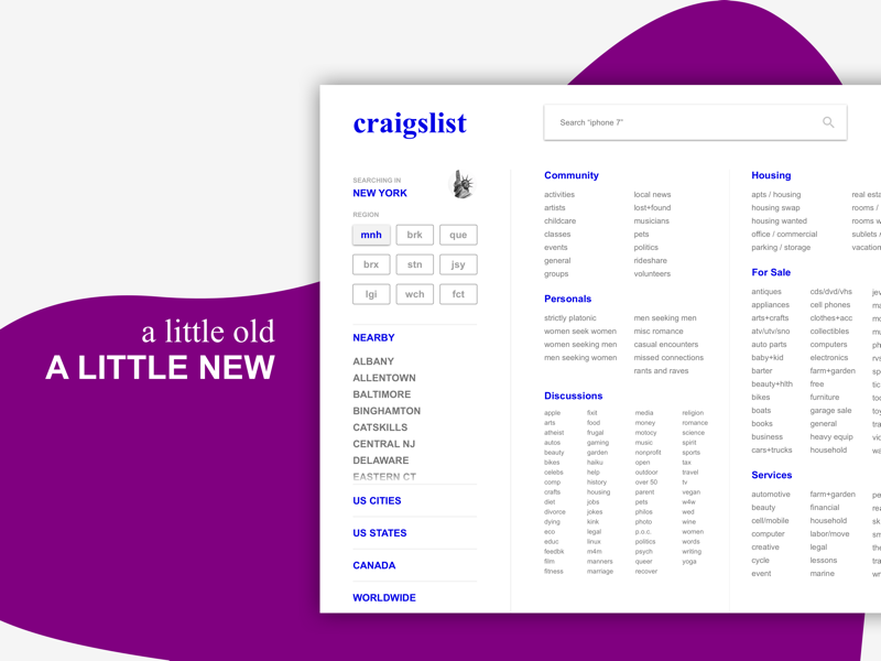 Craigslist Redesign Concept by Sahil Dave on Dribbble