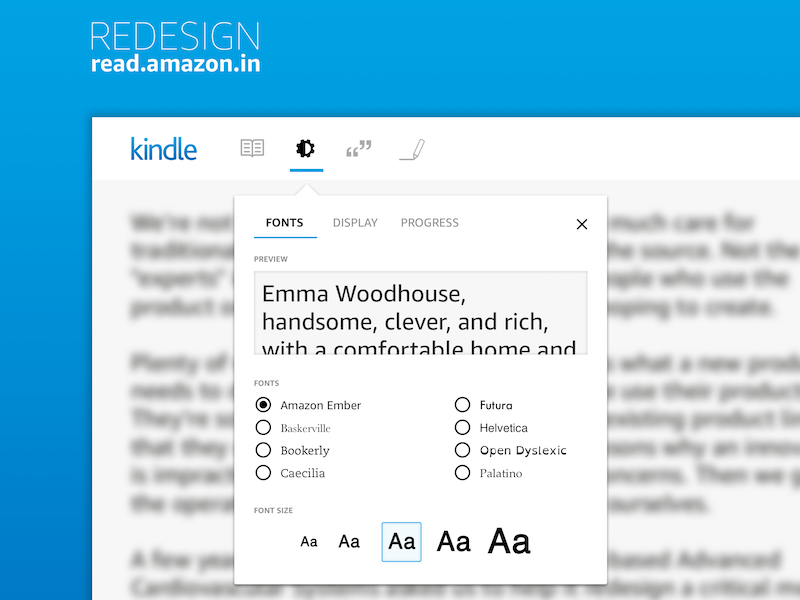 Kindle Web Settings; Daily UI #7 settings daily ui concept redesign reader ebook kindle