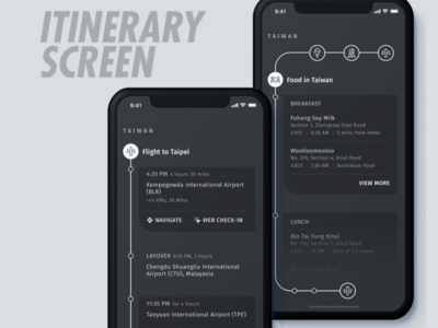 Itinerary Screen for Travel App trip flight itinerary flat app ux ui design holiday taiwan tourism travel