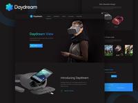 Google Daydream VR Landing Page Dark Concept