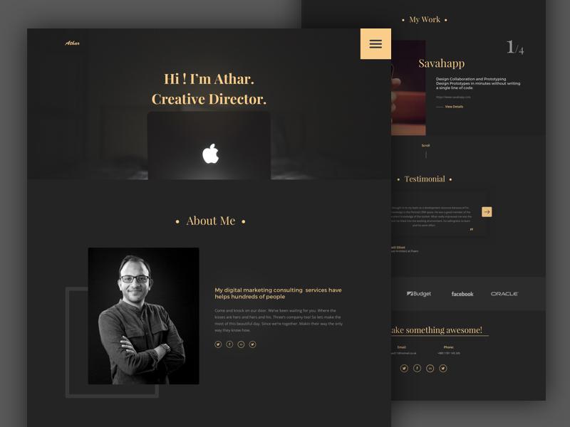 Dark Portfolio Web Template By Junaed Ahmed Numan Dribbble Dribbble