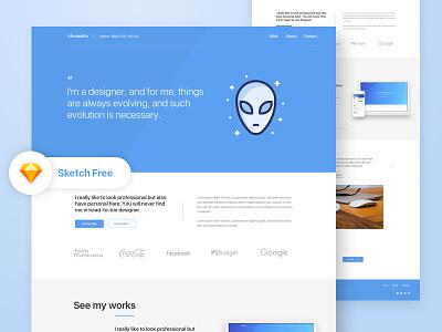 Free Portfolio Landing Page recent clean work icon mockup blue best shot service portfolio landing page free