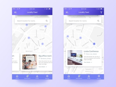 Locality Feed Meeting Room App home template locality new product meeting room landing page illustration dribbble best shot creative app design app