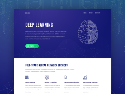 Deep Learning Website Exploration dribbble best shot ux ui corporate clean agency services network neural network deep learning
