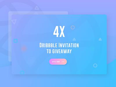 4x Dribbble Invitation To Giveaway ui visual unique shot opportunity invite invitation best shot  color  dribbble