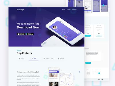 Meeting Room App Landing Page typography beautiful ux best shot blue visual ui app app landing landing page