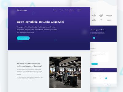 Creative Agency Landing Page typography beautiful ux best shot purple blue visual ui landing landing page