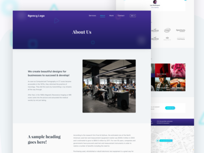 Creative Agency About Page typography beautiful ux best shot purple blue visual ui landing landing page