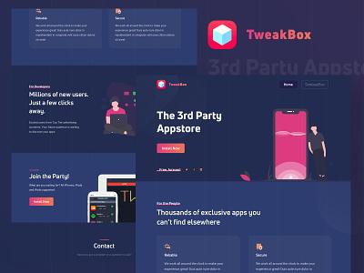 Tweakbox Landing Page Redesign apps tweakbox appstore creative best shot web agency portfolio app landing page clean ux ui