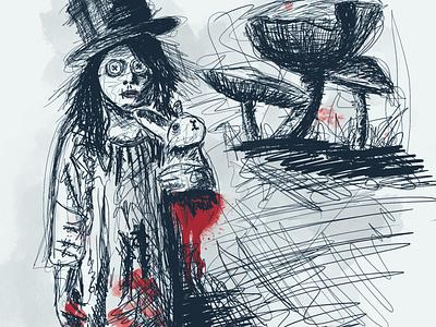 Alice in wonderland wonderland rabbit horror creepy blood illustration drawing