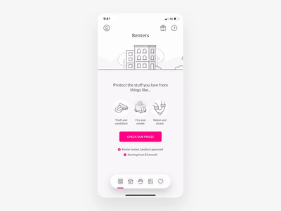 Multi-product app flow interface mobile android ios card screens car renters home pet life insurance animation illustration ux app ui lemonade