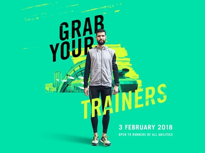 Grab Your Trainers colour modern athletics sports fitness marathon sheffield typography green neon running