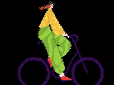 Girl On Bike vector graphic design illustration