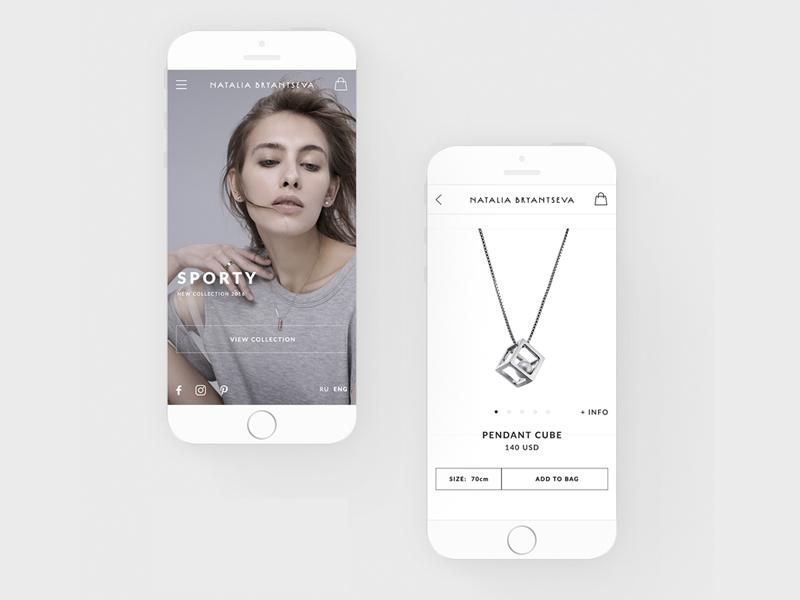 Natalia Bryantseva - Jewerly Designer. Mobile Design future minimal white clear flat fashion promo product page store mobile design jewerly mobile