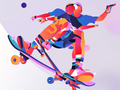 Zion colour portrait illustrator skate digital art skateboard color palette vector illustration