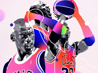 TLD graphic design vector digital art colour portrait illustrator nba basketball michael jordan adobe palette illustration