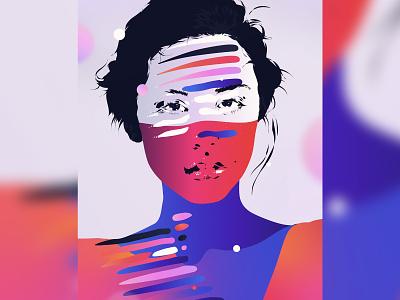 MXI adobe poster face graphic design vector portrait abstract digital art illustrator colour illustration print
