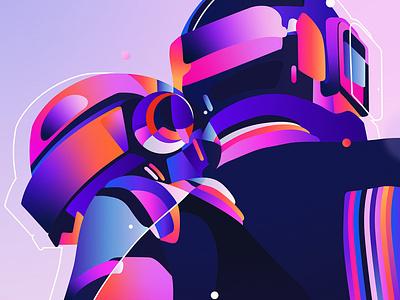 Homework portrait daftpunk music poster illustrator print adobe graphic design vector digital art illustration