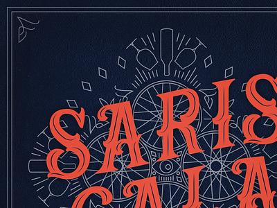 Saris Gala Brand Identity / Illustration typography texture branding event branding luxury event wisconsin madison playing card circus cirque lineart illustration