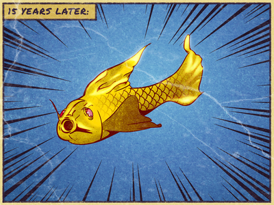 3 Wishes - Fish illustration card fish golden golden fish comics blender magic wish