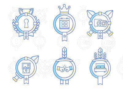 Uniplaces Badges icons vector rank stars draw evolution blue illustration 2d uniplaces badges