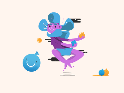 Water Balloon Fight funny blue vector character water summer 2d illustration