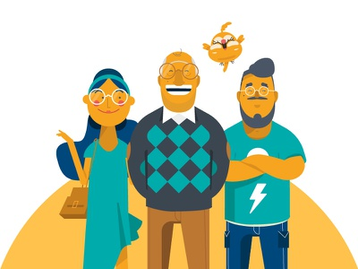 Family Characters family character design design yellow vector illustration 2d character