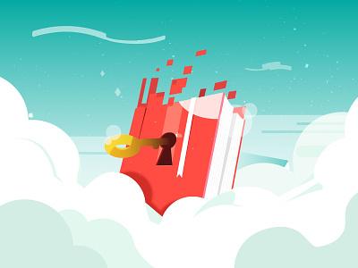 Digital Book fantasy sky futuristic key book cover article design vector 2d illustration