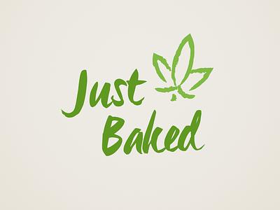Just Baked - Block Logo logo weed bakery identity green leaf cannabis