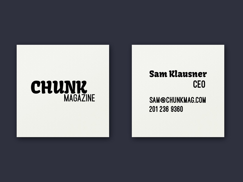 Buisness Cards for Chunk Magazine ca los angeles nv reno business card direction art branding mag magazine chunk business cards