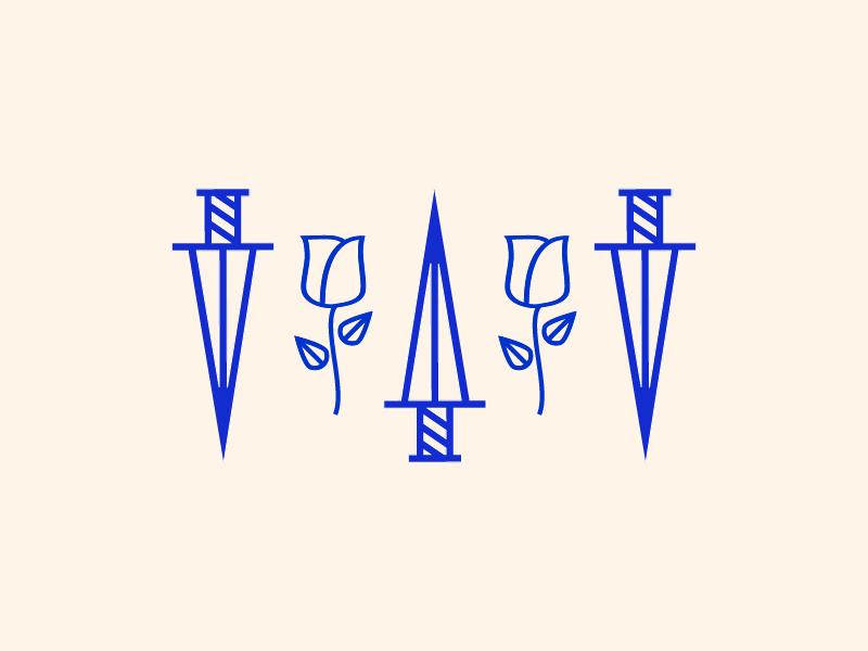 Send Me Dead Flowers By The Mail branding ca california los angeles nevada reno illustration art swords blue flowers