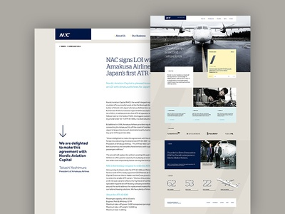 Nordic Aviation Capital website flat front page nac modern aviation air planes typography desktop