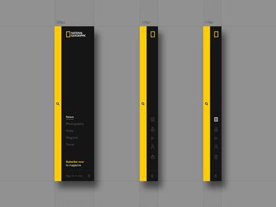 Nat Geo - Expandable Menu black yellow national geographic nat geo flexible simple ui menu