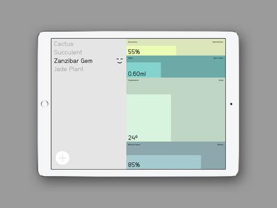 Plant Monitor app ipad pastel ui simple monitor plant
