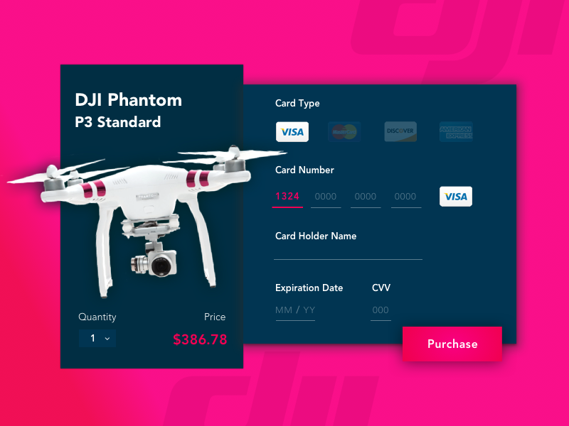 Daily UI 002 - Credit Card Checkout modal drone payment registered visa dailyui card flat interaction cms ux ui