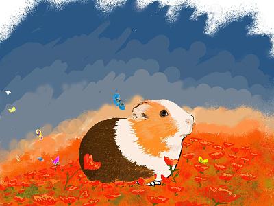 The Guinea animal art guinea pig tshirt art design illustration