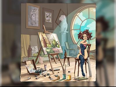 Girl artist girl day artist girl illustration illustration