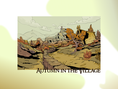 Village autumn game art trees game day nature art landscape illustration