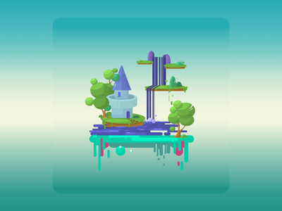 Game landscape blue day waterfall game art game flat trees nature art landscape illustration