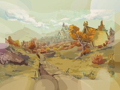 Autumn village graphic tablet illustration yellow village nature art landscape illustration
