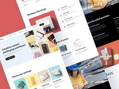 Custom packaging website boxes packaging package box ecommerce custom banner header layout ux ui
