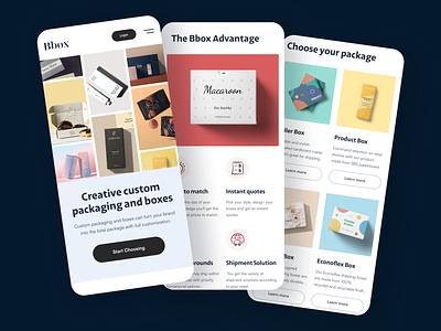 Custom Packaging Website (Responsive Design) header layout responsive mobile ecommerce website design webdesign ux ui