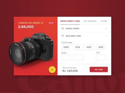 Daily UI challenge #002 — Check out design ui card payment 5d canon camera product cart check out daily ui